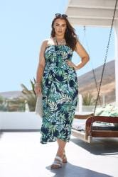 Navy & Green Palm Leaf Halterneck Midi Dress