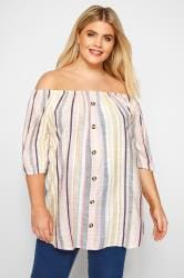 Pink Pastel Striped Bardot Top