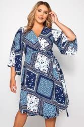 YOURS LONDON Kleid im Patchwork-Muster - Blau