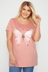 Pink Butterfly Sparkle T-Shirt With Lattice Back