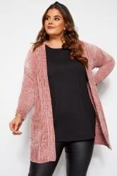 Pink Chenille Knitted Cardigan