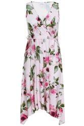 YOURS LONDON Pink Floral Hanky Hem Dress