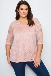 Pink Floral Lace Top
