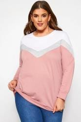 Pink & Grey Colour Block Chevron Sweatshirt