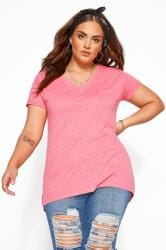 Pink Marl Pocket T-Shirt