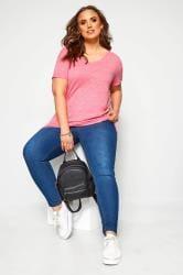 T-Shirt mit Ziertasche - Pink meliert