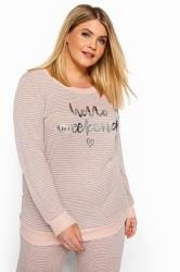 Pink Marl Slogan Stripe Lounge Top