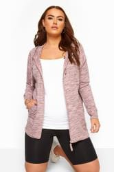 Pink Marl Zip Through Hoodie