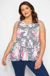 Pink & Navy Floral Striped Swing Top