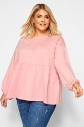 Pink Peplum Sweatshirt