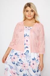 Pink Pointelle Cropped Cardigan