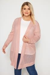 Pink Pointelle Waterfall Cardigan