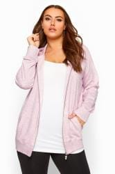Pink Ribbed Trim Zip Through Hoodie