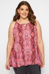 Pink Snake Print Cross Front Vest Top
