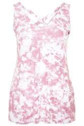 Pink Tie Dye Cross Back Vest Top