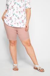 Pink Twill Stretch Shorts