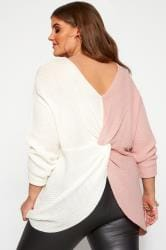 Sweter Twist, biały&róż