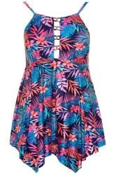 Blue & Pink Tropical Floral Double Lattice Swim Dress