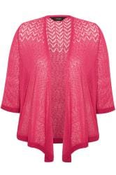 Hot Pink Waterfall Fine Knit Shrug