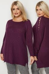Purple Knitted Jumper With Lattice Shoulders