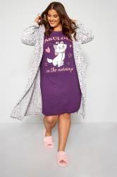 Paars katoenen Disney nachthemd met kat en 'Fabulous' slogan