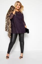 Purple Sequin Lace Swing Top