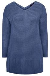 Blue Ribbed Longline Jumper