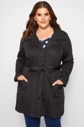 Jersey-Mantel mit Revers - Schwarz
