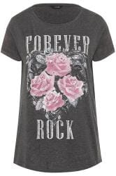 Grey 'Forever Rock' Slogan Rock T-Shirt