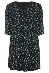 Black & Green Floral Ruched Dress