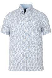RAGING BULL Blue Floral Leaf Print Shirt