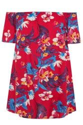 Red & Blue Floral Bardot Dress