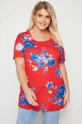 Red & Blue Floral Scoop Neck T-Shirt