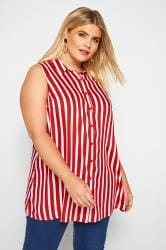 Red Striped Sleeveless Shirt