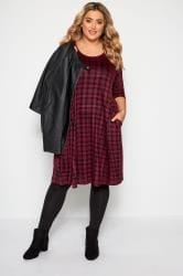 Burgundy Check Drape Pocket Dress