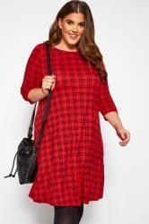 Red Check Swing Dress