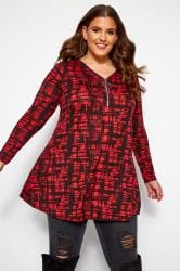 Red Crosshatch Longline Top With Zip Front