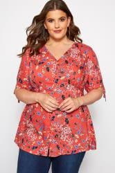 Red Floral Button Up Blouse
