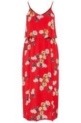 YOURS LONDON Doppellagiges Maxi-Kleid - Rot
