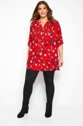 Red Floral Pintuck Shirt