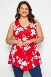 Rode top met bloemenprint en siersteentjes