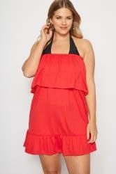 Red Frill Bandeau Beach Dress