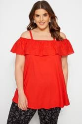 Red Frill Broderie Cold Shoulder Top