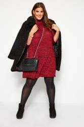 Red Marl Turtleneck Dress