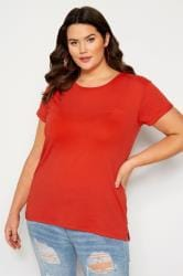 Red Mock Pocket T-Shirt