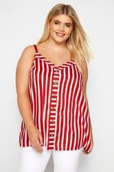 Red Striped Button Front Cami