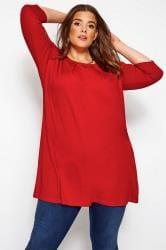 Jersey-Tunika mit Biesen - Rot