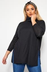 LIMITED COLLECTION Black Ribbed Roll Neck Jumper