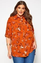 Rust Floral Shirt