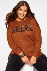 Rust Sequin 'Rebel' Slogan Sweatshirt